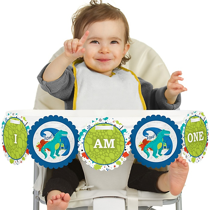 Roar Dinosaur 1st Birthday - I am One - First Birthday High Chair Banner