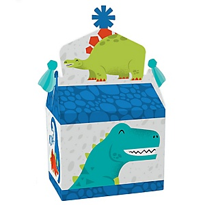 Roar Dinosaur - Treat Box Party Favors - Dino Mite Trex Baby Shower or Birthday Party Goodie Gable Boxes - Set of 12