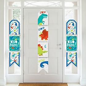 Roar Dinosaur - Hanging Vertical Paper Door Banners - Dino Mite Trex Baby Shower or Birthday Party Wall Decoration Kit - Indoor Door Decor