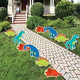 Roar Dinosaur - Trex, Triceratops, Stegosaurus and Brontosaurus Lawn Decorations - Outdoor Dino Mite Baby Shower or Birthday Party Yard Decorations - 10 Piece