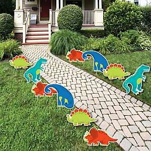 Roar Dinosaur - Trex, Triceratops, Stegosaurus and Brontosaurus Lawn Decorations - Outdoor Dino Mite Baby Shower or Birthday Party Yard Decorations - 10 Piece