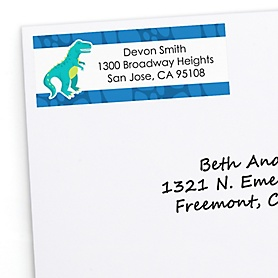 Roar Dinosaur - Personalized Dino Mite T-Rex Baby Shower or Birthday Party Return Address Labels - 30 ct
