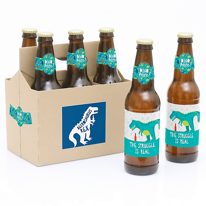 Roar Dinosaur - Decorations for Women and Men - 6 Dino Mite T-Rex Birthday Party Beer Bottle Label Stickers and 1 Carrier