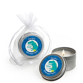 Roar Dinosaur - Dino Mite T-Rex - Personalized Party Candle Tin Favors - Set of 12