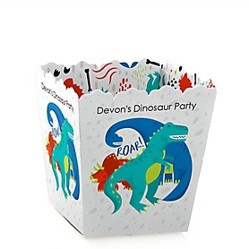Roar Dinosaur - Party Mini Favor Boxes - Personalized Dino Mite T-Rex Baby Shower or Birthday Party Treat Candy Boxes - Set of 12