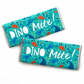 Roar Dinosaur -  Candy Bar Wrapper Dino Mite T-Rex Baby Shower or Birthday Party Favors - Set of 24