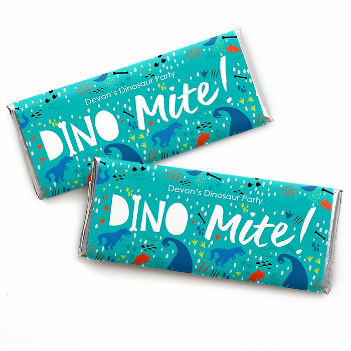 Roar Dinosaur - Personalized Candy Bar Wrapper Dino Mite T-Rex Baby Shower or Birthday Party Favors - Set of 24
