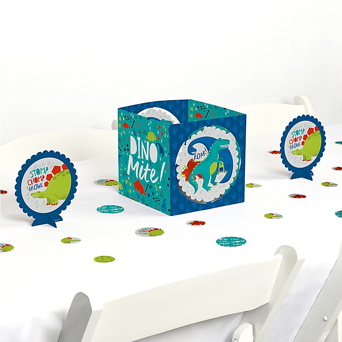 Roar Dinosaur - Dino Mite T-Rex Baby Shower or Birthday Party Centerpiece & Table Decoration Kit
