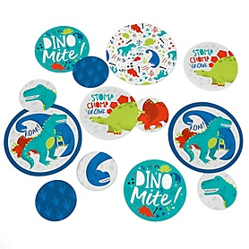 Roar Dinosaur - Dino Mite T-Rex Baby Shower or Birthday Party Giant Circle Confetti - Party Decorations - Large Confetti 27 Count