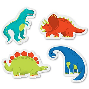 Roar Dinosaur - DIY Shaped Dino Mite T-Rex Baby Shower or Birthday Party Cut-Outs - 24 ct