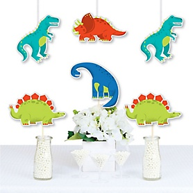 Roar Dinosaur - Trex, Triceratops, Stegosaurus and Brontosaurus Decorations DIY Dino Mite Baby Shower or Birthday Party Essentials - Set of 20