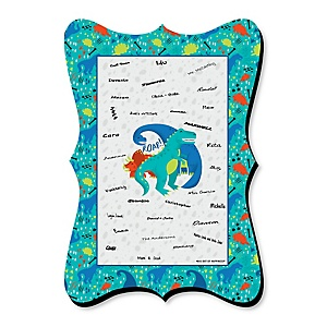 Roar Dinosaur - Unique Alternative Guest Book - Dino Mite T-Rex Baby Shower or Birthday Party Signature Mat