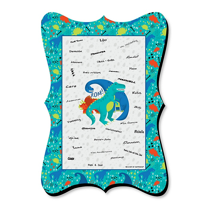 Roar Dinosaur - Unique Alternative Guest Book - Dino Mite T-Rex Baby Shower or Birthday Party Signature Mat