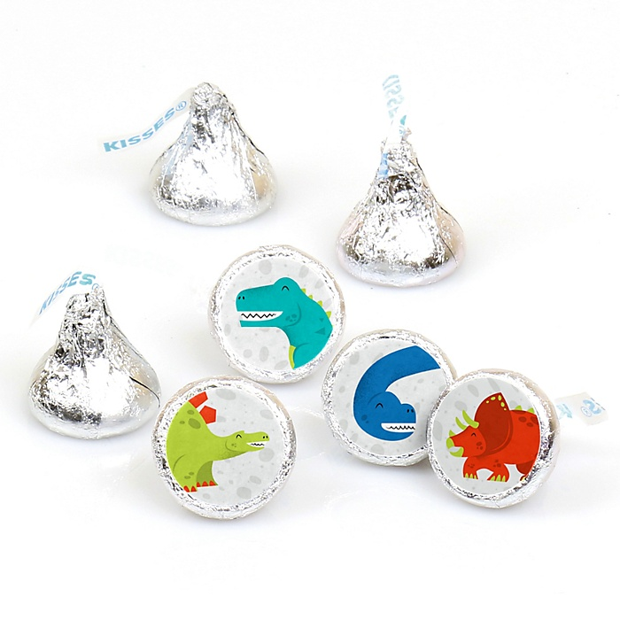 Roar Dinosaur - Dino Mite T-Rex Baby Shower or Birthday Party Round Candy Sticker Favors - Labels Fit Hershey's Kisses - 108 ct