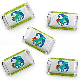 Roar Dinosaur - Mini Candy Bar Wrappers Stickers - Dino Mite T-Rex Baby Shower or Birthday Party Small Favors - 40 Count