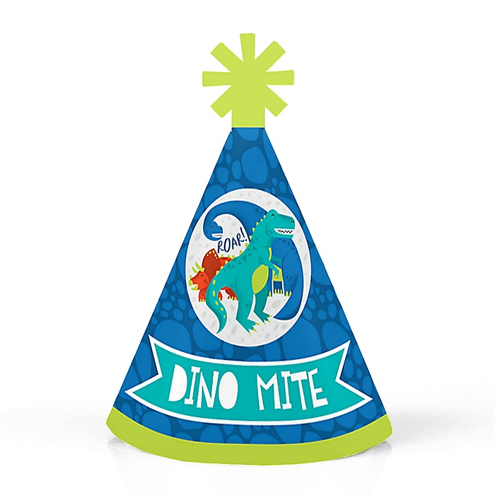Roar Dinosaur - Personalized Mini Cone Dino Mite T-Rex Baby Shower or Birthday Party Hats - Small Little Party Hats - Set of 10