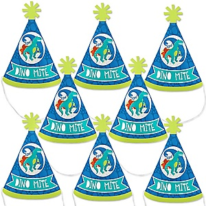 Roar Dinosaur - Mini Cone Dino Mite T-Rex Baby Shower or Birthday Party Hats - Small Little Party Hats - Set of 8