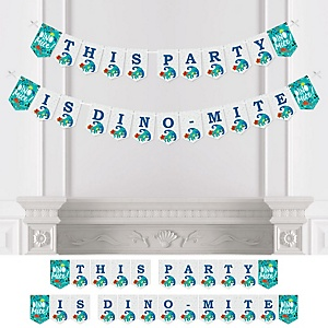 Roar Dinosaur - Dino Mite Trex Baby Shower or Birthday Party Bunting Banner - Party Decorations - This Party Is Dino-Mite