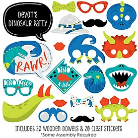 Roar Dinosaur - 20 Piece Dino Mite T-Rex Baby Shower or Birthday Party Photo Booth Props Kit