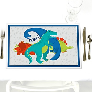 Roar Dinosaur - Dino Mite T-Rex - Party Table Decorations - Party Placemats - Set of 12