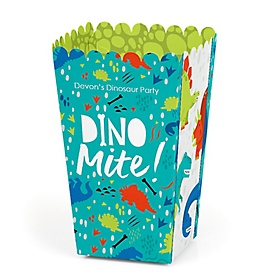 Roar Dinosaur - Personalized Dino Mite T-Rex Baby Shower or Birthday Party Favor Popcorn Treat Boxes - Set of 12