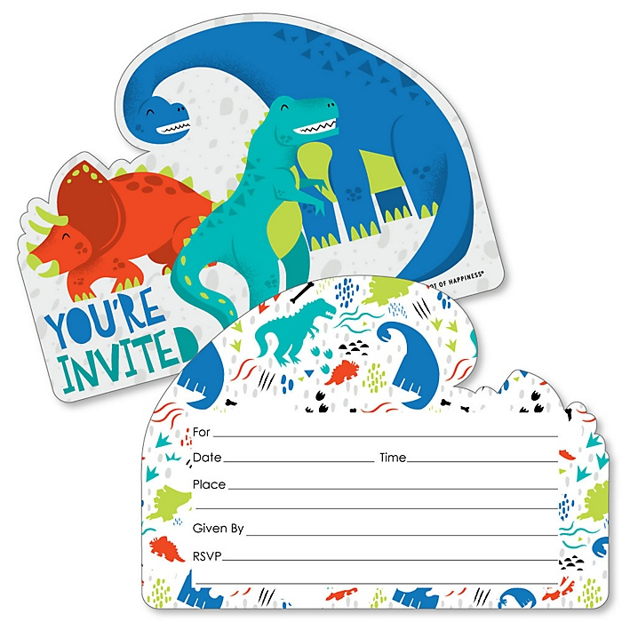 Roar Dinosaur - Shaped Fill-In Invitations - Dino Mite T-Rex Baby Shower or Birthday Party Invitation Cards with Envelopes - Set of 12
