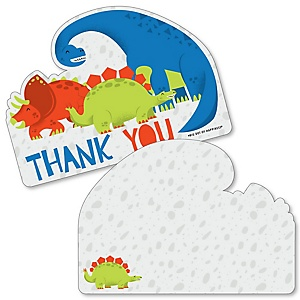Roar Dinosaur - Shaped Thank You Cards - Dino Mite T-Rex Baby Shower or Birthday Party Thank You Note Cards with Envelopes - Set of 12