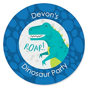 Roar Dinosaur - Personalized Dino Mite T-Rex Baby Shower or Birthday Party Sticker Labels - 24 ct