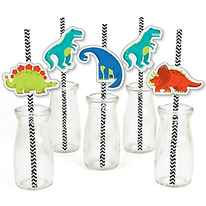 Roar Dinosaur - Paper Straw Decor - Dino Mite T-Rex Baby Shower or Birthday Party Striped Decorative Straws - Set of 24