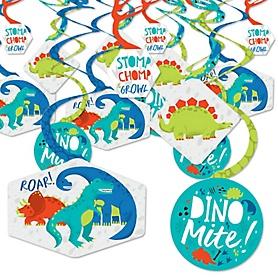 Roar Dinosaur - Dino Mite Trex Baby Shower or Birthday Party Hanging Decor - Party Decoration Swirls - Set of 40