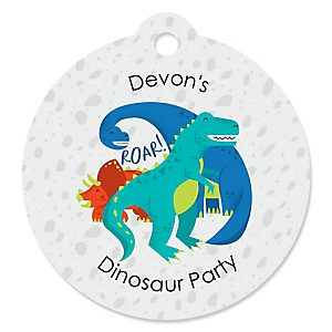 Roar Dinosaur - Round Personalized Dino Mite T-Rex Party Tags - 20 ct