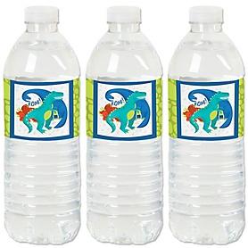 Roar Dinosaur - Dino Mite T-Rex - Party Water Bottle Sticker Labels - Set of 20