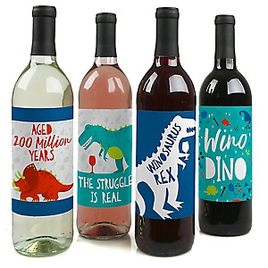 Roar Dinosaur - Dino Mite T-Rex Birthday Party Decorations for Women and Men - Wine Bottle Label Stickers - Set of 4