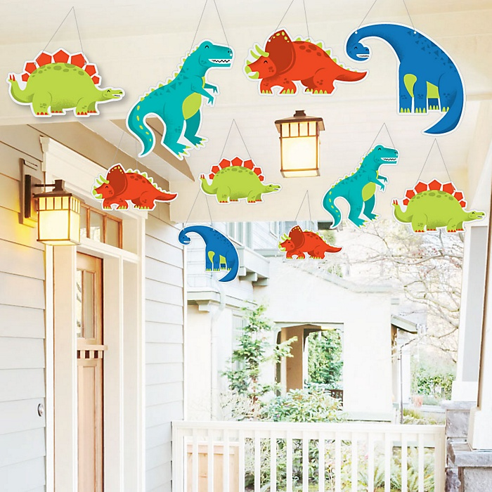 Hanging Roar Dinosaur - Outdoor Dino Mite T-Rex Baby Shower or Birthday Party Hanging Porch and Tree Yard Decorations - 10 Pieces