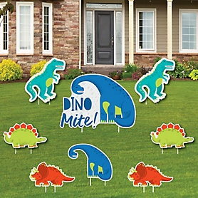 Roar Dinosaur - Yard Sign and Outdoor Lawn Decorations - Dino Mite T-Rex Baby Shower or Birthday Party Yard Signs - Set of 8