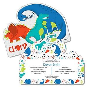 Roar Dinosaur - Shaped Dino Mite T-Rex Baby Shower invitations - Set of 12