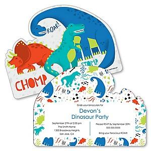Roar Dinosaur - Shaped Dino Mite T-Rex Birthday Party Invitations - Set of 12