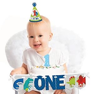 Roar Dinosaur 1st Birthday - First Birthday Boy Smash Cake Decorating Kit - High Chair Decorations