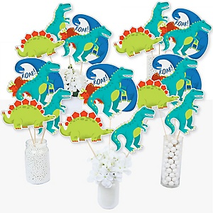 Roar Dinosaur - Dino Mite T-Rex Baby Shower or Birthday Party Centerpiece Sticks - Table Toppers - Set of 15