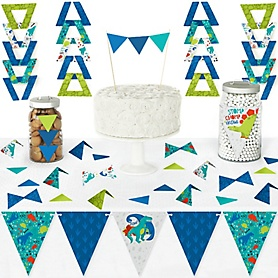 Roar Dinosaur - DIY Pennant Banner Decorations - Dino Mite Trex Baby Shower or Birthday Party Triangle Kit - 99 Pieces