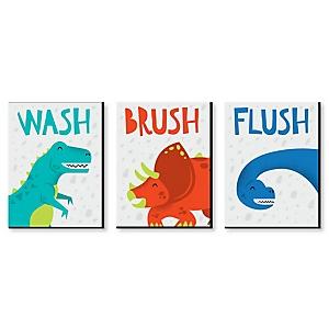 Roar Dinosaur - Kids Bathroom Rules Wall Art - 7.5 x 10 inches - Set of 3 Signs - Wash, Brush, Flush