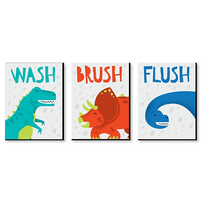 Roar Dinosaur - Kids Bathroom Rules Wall Art - 7.5 x 10 inches - Set of 3 Signs - Wash, Brush, Flush