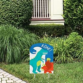 Roar Dinosaur - Outdoor Lawn Sign - Dino Mite Trex Baby Shower or Birthday Party Yard Sign - 1 Piece