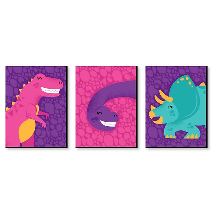 Roar Dinosaur Girl - Girl Dino Mite T-Rex Nursery Wall Art and Kids Room Decor - 7.5 x 10 inches - Set of 3 Prints