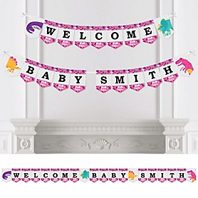 Roar Dinosaur Girl - Personalized Dino Mite T-Rex Baby Shower Bunting Banner and Decorations