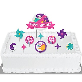 Roar Dinosaur Girl - Dino Mite T-Rex Birthday Party Cake Decorating Kit - Happy Birthday Cake Topper Set - 11 Pieces