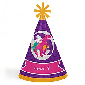 Roar Dinosaur Girl - Personalized Cone Happy Birthday Party Hats for Kids and Adults - Set of 8 (Standard Size)