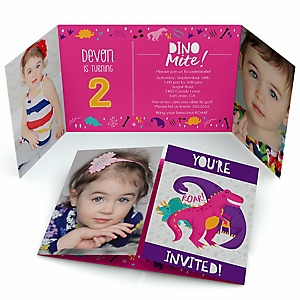 Roar Dinosaur Girl - Personalized Dino Mite T-Rex Birthday Party Photo Invitations - Set of 12