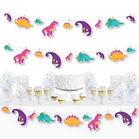 Roar Dinosaur Girl - Dino Mite Trex Baby Shower or Birthday Party DIY Decorations - Clothespin Garland Banner - 44 Pieces