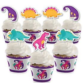 Roar Dinosaur Girl - Cupcake Decoration - Dino Mite Trex Baby Shower or Birthday Party Cupcake Wrappers and Treat Picks Kit - Set of 24
